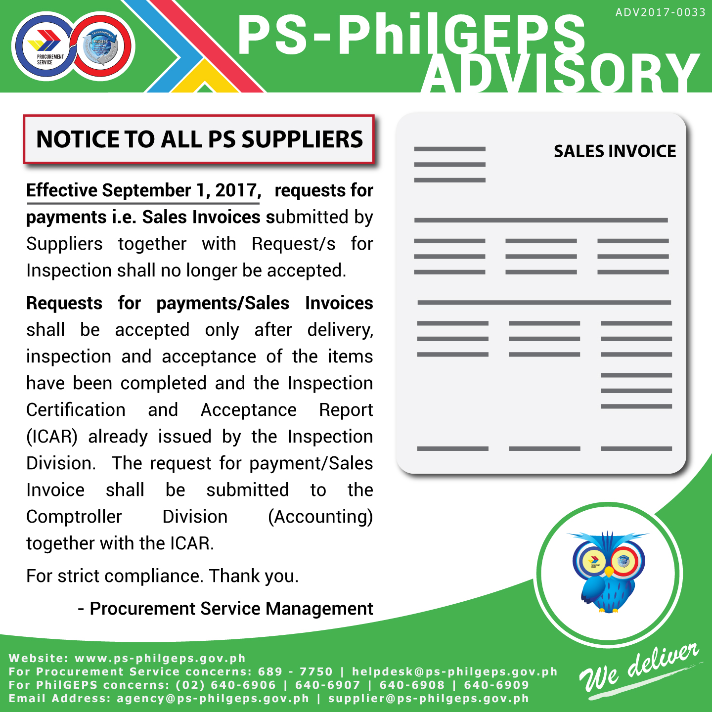 notice to all suppliers